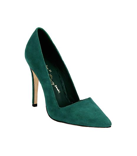 Alice + Olivia Dina Suede Pumps ($207) in Emerald