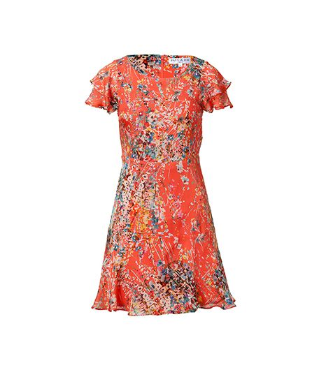 Paul & Joe Tangerine Multicolor Floral Print Dress