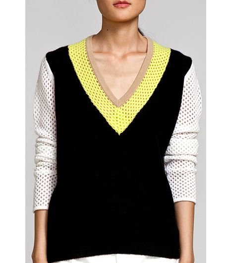 M Patmos  Mesh Colorblocked V-Neck