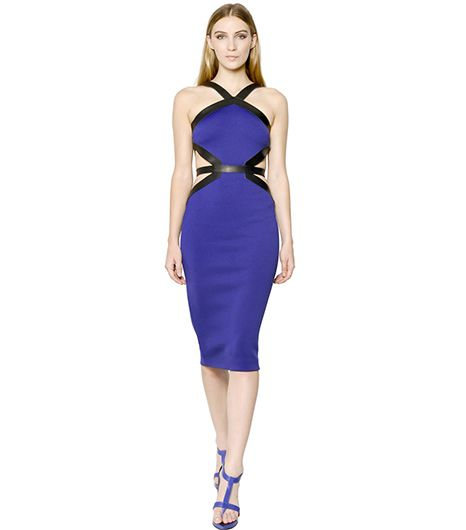 David Koma  David Koma Leather Neoprene & Jersey Dress