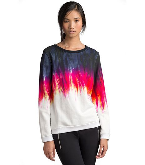 MSGM   MSGM Flame Tie-Dye Print Sweatshirt