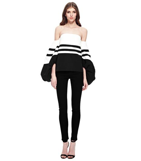 Rosie Assoulin  Rosie Assoulin Striped Cotton-Faille Balloon-Sleeve Top
