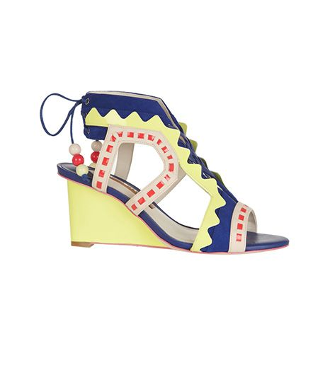 Sophia Webster  Sophia Webster Raya Suede and Leather Wedge Sandals