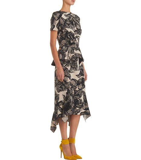 Juan Carlos  Juan Carlos Obando Leaf-Print Short Sleeve Dress