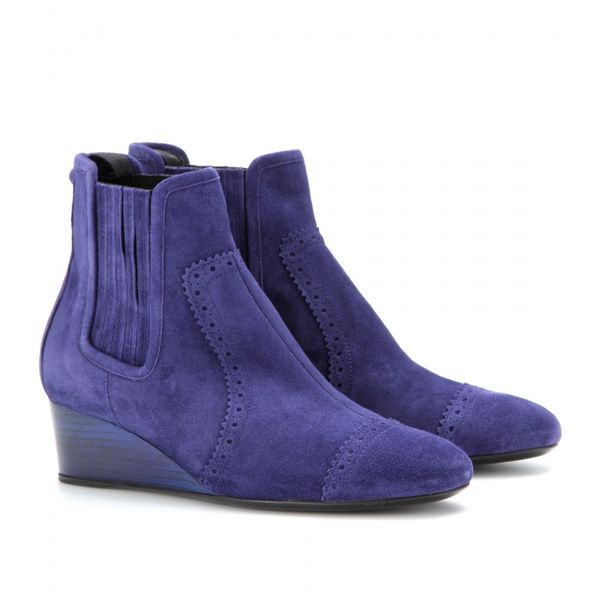 Balenciaga  Suede Wedge Brogue Ankle Boots
