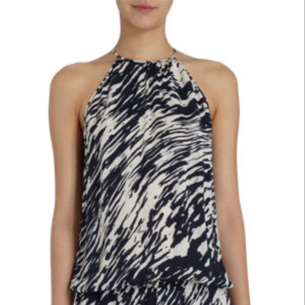 Nili Lotan  Wave-Print Halter Dress