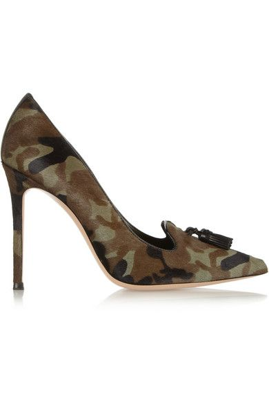 Gianvito Rossi  Camouflage-Print Pony Hair Pumps