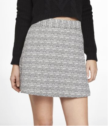 Express  High Waist Textured Tweed A-Line Skirt
