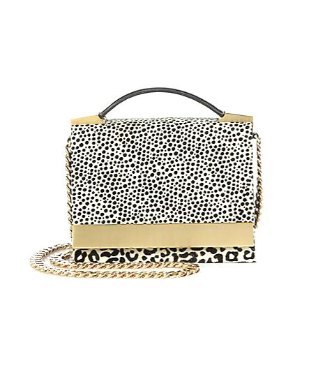 Brian Atwood Ava Spotted Calf Hair Convertible Top-Handle Bag