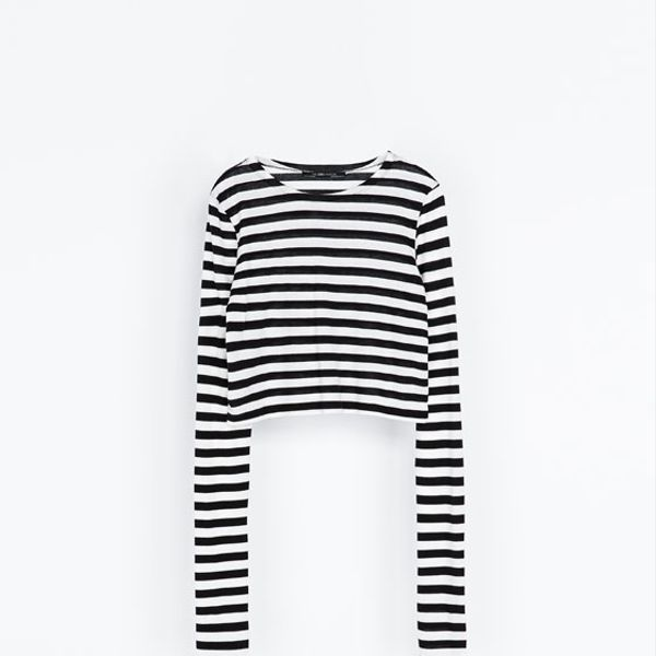 Zara  Striped Crop T-Shirt