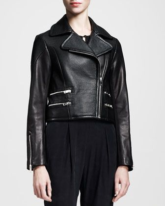 Rag & Bone  Hudson Mixed-Leather Jacket