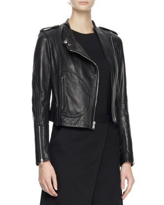 Theory  Katiana Cropped Leather Jacket