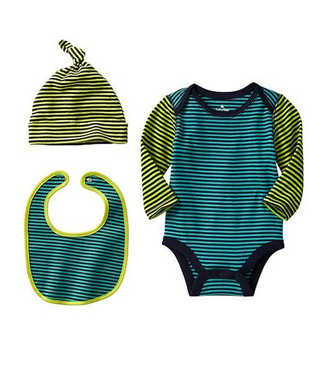Gap Gap Colorblock Striped Bodysuit ($13) Hat ($8) and Bib ($8):