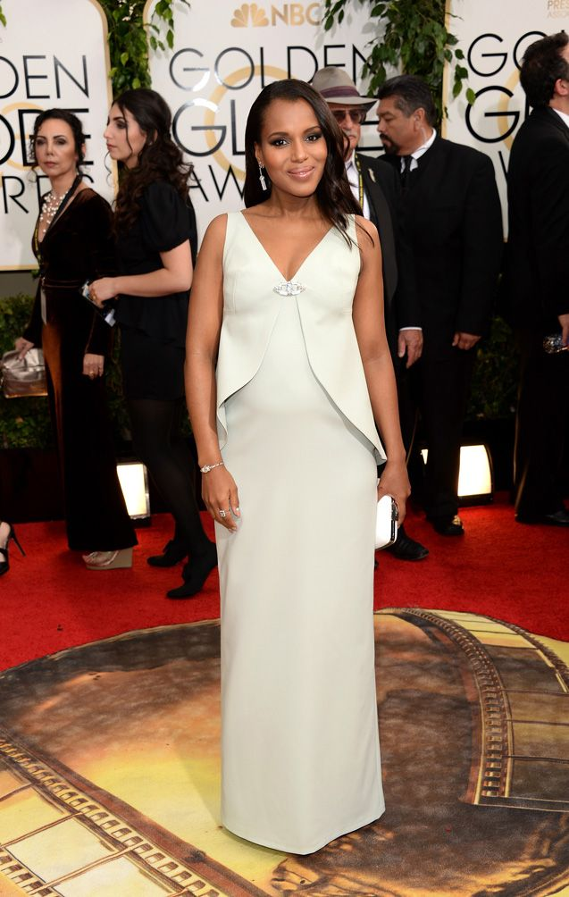 WHO: Kerry Washington WHAT: Nominee for Best Performance by an Actress in a Television Series Dramafor Scandal. WEAR: custom Balenciaga dress; Fred Leighton 1920's diamond...