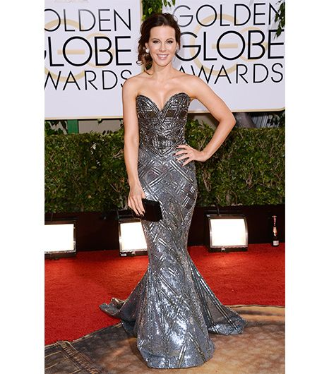 WHO: Kate Beckinsale WHAT: Presenter WEAR: Zuhair Murad dress; Chopard contrasting black and white diamond earrings; Edie Parker clutch; Jimmy Choo heels.