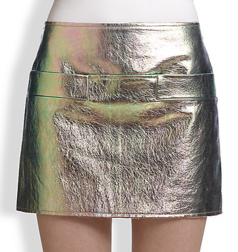 Marc by Marc Jacobs  Metallic Leather Mini Skirt