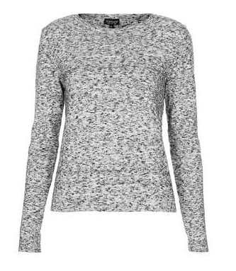 Topshop Knitted Grey Nep Jumper