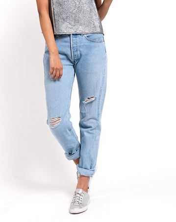 Denim Refinery  The Light Wash Subtle Distress Levi's Boyfriend Jeans