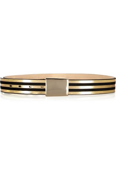 Isabel Marant  Dallan Striped Metallic Leather Belt