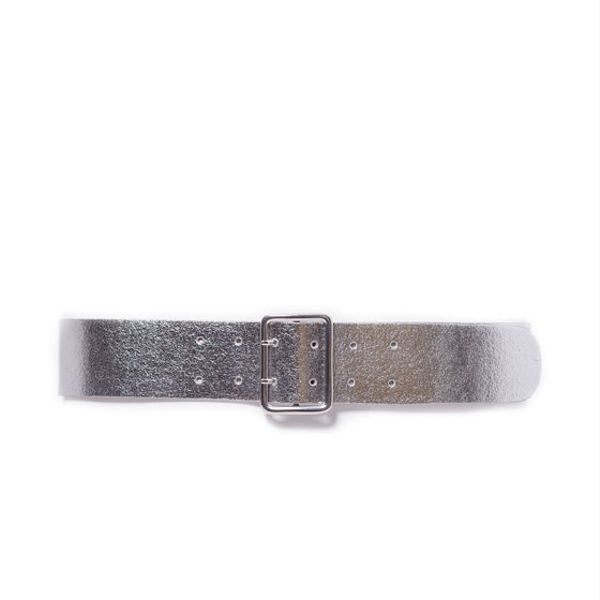 Zara  Wide Cracked Metallic Leather Belt
