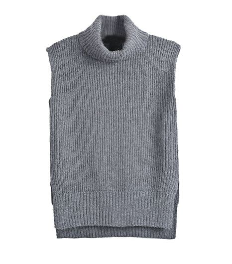 SheInside Grey High Neck Sleeveless Dipped Hem Sweater