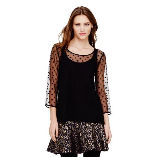 Club Monaco Meagan Sheer Dotted Top in Black Dot