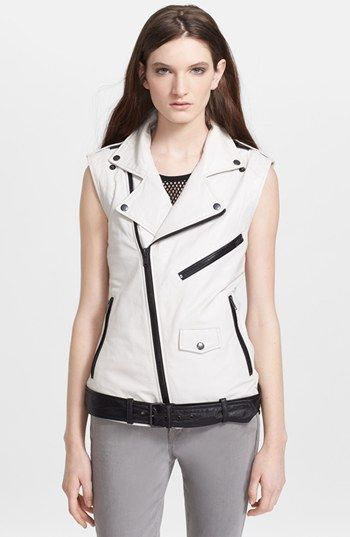 BLK Denim Leather Motorcycle Vest in Dust White