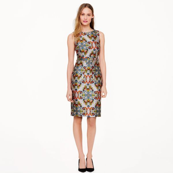 J. Crew Floral Dress in Misty Fog