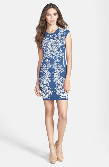 BCBG Floral Jacquard Body-con Dress in Denim Combo
