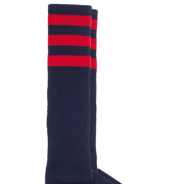 American Apparel Stripe Knee-High Sock in Navy/Red