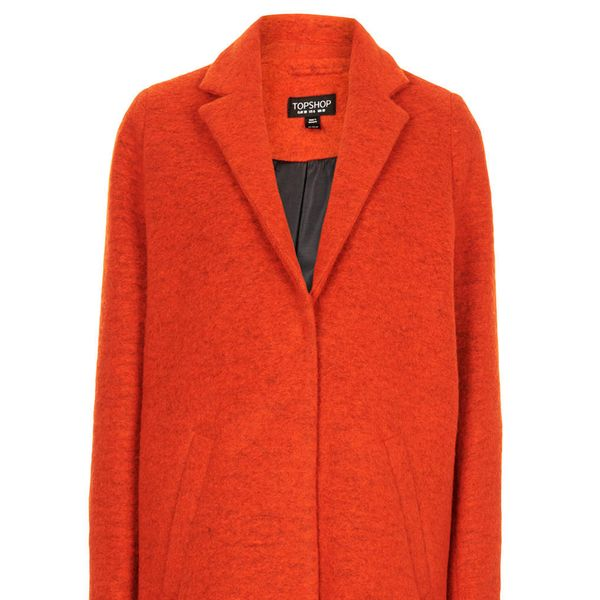 Topshop Wool Boyfriend Coat in Bright Orange