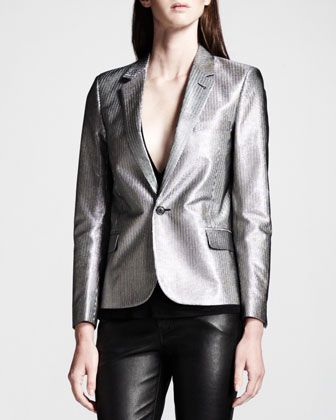 Saint Laurent  Silver Single-Button Blazer
