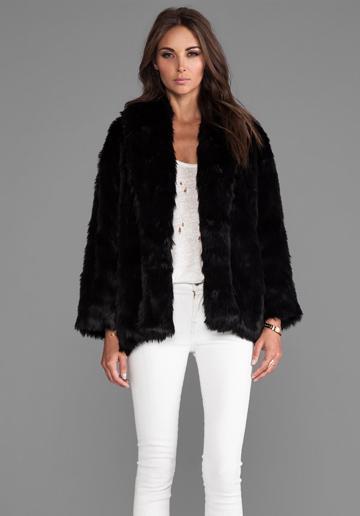 Alice + Olivia  Alita Oversized Shawl Collar Faux Fur Coat