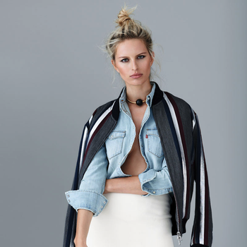 Karolina Kurkova In Mixed Denim Looks For S Moda