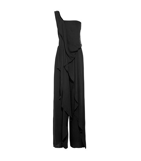 Donna Karan One-Shoulder Georgette Jumpsuit