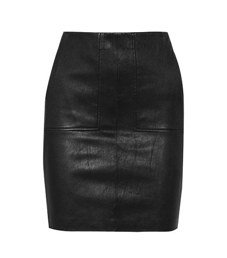 Vince Leather And Stretch-Jersey Pencil Skirt