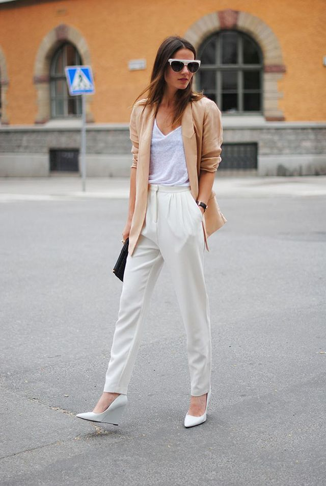 White T-Shirt + White trousers