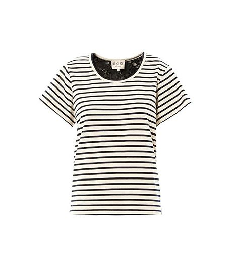 Sea  Breton Stripe and Lace T-Shirt