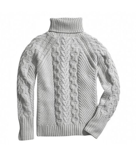 Coach Coach Hand Knit Aran Polo Neck Sweater ($358) in Grey