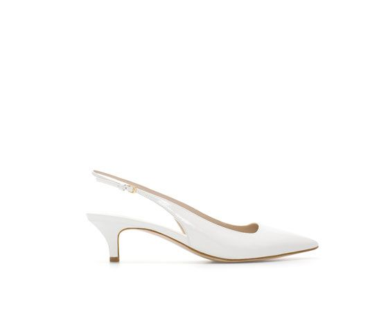 Zara  Kitten Heels Patent Leather Slingbacks