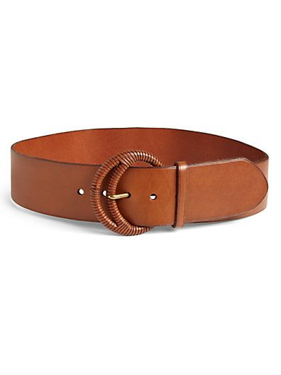 Ralph Lauren Blue Label  Crescent-Buckle Leather Belt