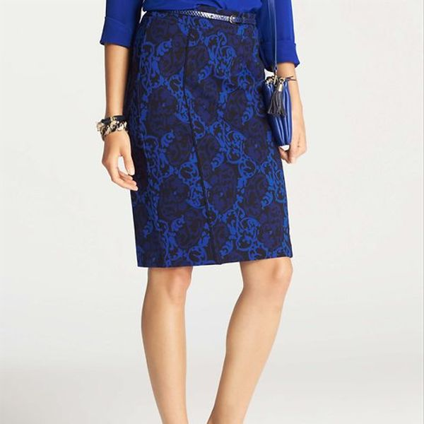 Ann Taylor  Scroll Print Pencil Skirt