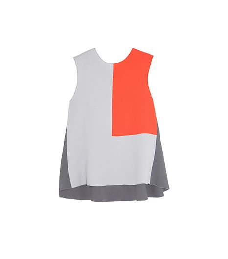 Roksanda Ilincic  Color-Block Wool Crepe Top