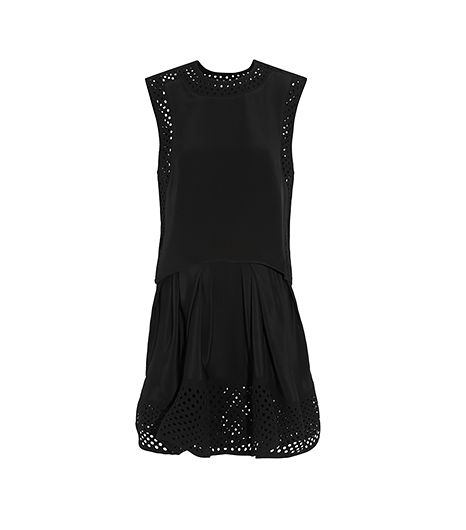 3.1 Phillip Lim  Laser-Cut Crepe-Trimmed Silk Mini Dress