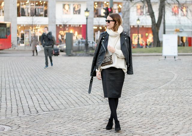Pencil Skirt and Biker Jacket: