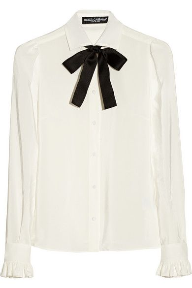 Dolce & Gabbana  Silk Crepe de Chine Pussy-Bow Blouse