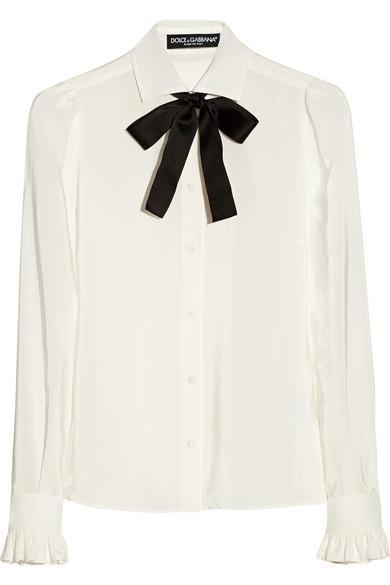 Dolce & Gabbana  Silk Crepe de Chine Pussy-Bow Blouse