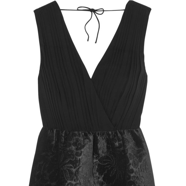 Alice + Olivia Riva Silk-Crepe and Embossed Velvet Mini Dress