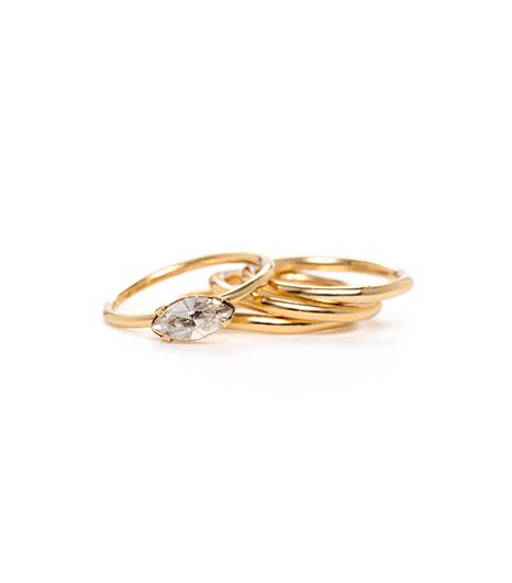 WWW x BB  Gold Midi Ring Set