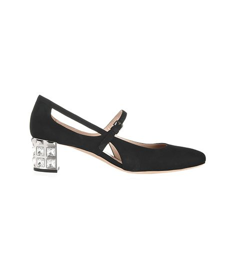 Miu Miu Miu Miu Embellished-Heel Suede Mary Jane Pumps